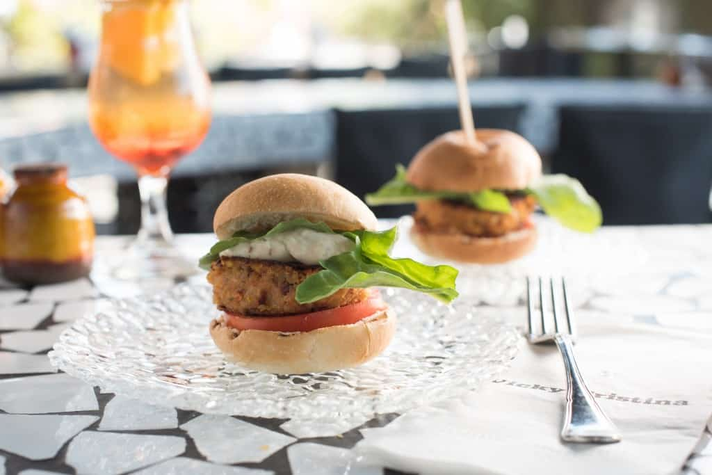Vegan burger, Vicky Cristina. Photo: Nimrod Saunders
